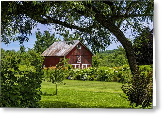 Red Roofed Barn Greeting Cards - Little Red Barn Greeting Card by Donna Doherty