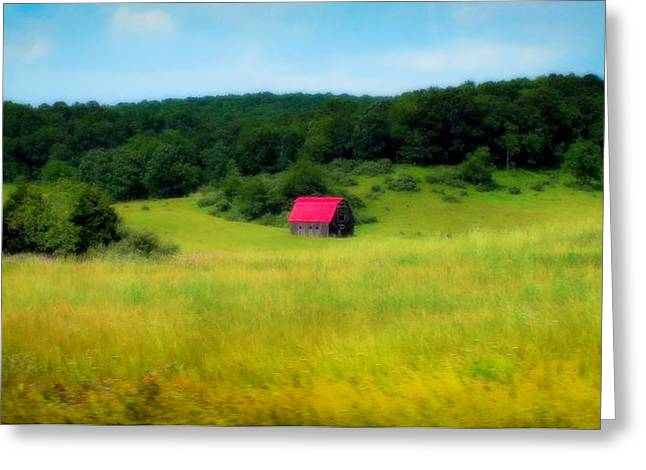 Pastureland Greeting Cards - Little Red Barn Greeting Card by Karen Wiles