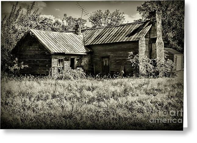 Little Red Farmhouse In Black And White Greeting Card by Paul Ward