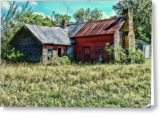 Little Red Farmhouse Greeting Card by Paul Ward