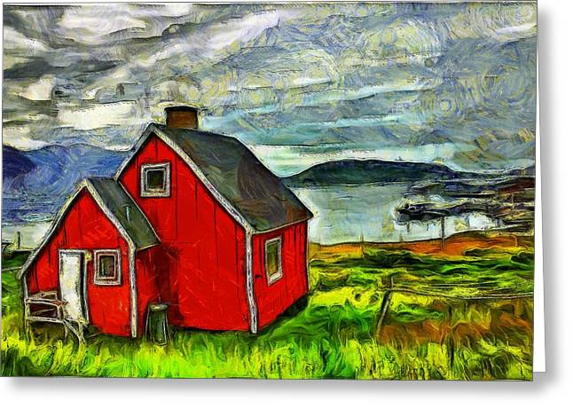 Van Gogh Style Greeting Cards - Little Red House in Greenland Greeting Card by Mario Carini