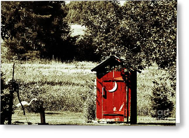 Little Red Outhouse Greeting Card by Ms Judi