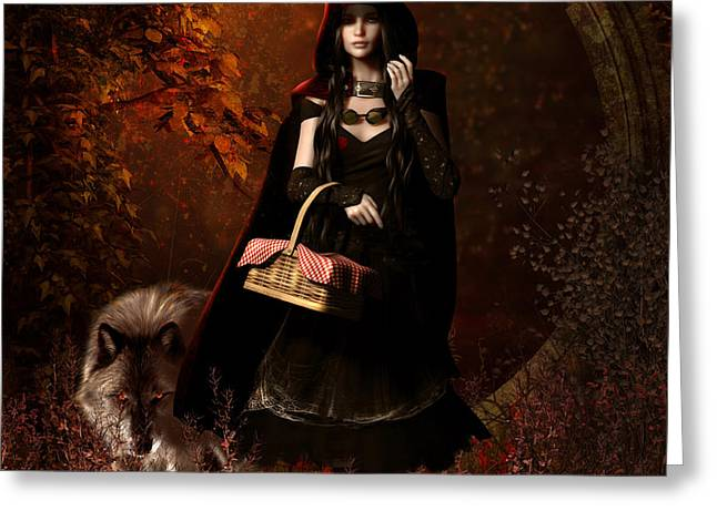 Wild Wolf Greeting Cards - Little Red Riding Hood Gothic Greeting Card by Shanina Conway