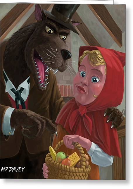 Nursery Rhyme Greeting Cards - Little Red Riding Hood With Nasty Wolf Greeting Card by Martin Davey