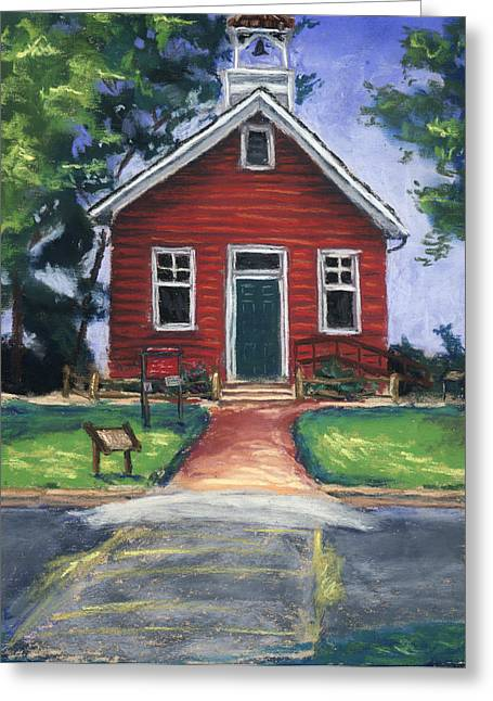 Nature Center Greeting Cards - Little Red Schoolhouse Nature Center Greeting Card by Christine Camp