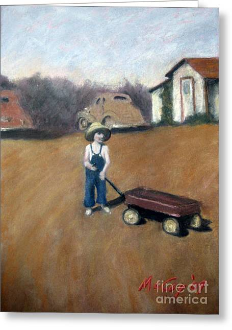 Shack Pastels Greeting Cards - Little Red Wagon Greeting Card by Brian McCoy
