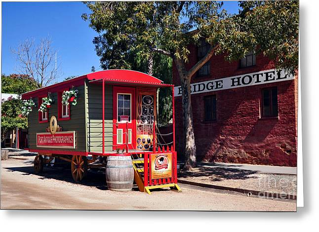 Red Buildings Greeting Cards - Little Red Wagon Greeting Card by Kaye Menner