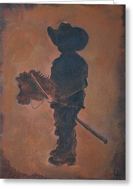 Western Boots Greeting Cards - Little Rider Greeting Card by Leslie Allen