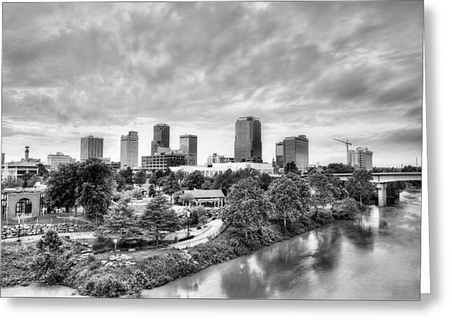 Little Rock Arkansas Greeting Cards - Little Rock in Black and White Greeting Card by JC Findley