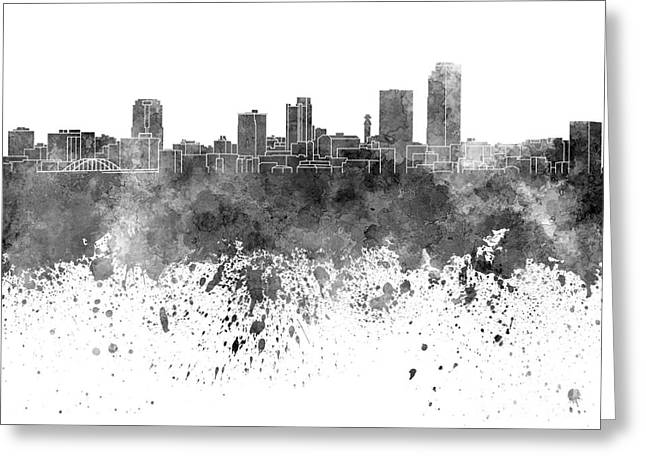 Arkansas Paintings Greeting Cards - Little Rock skyline in black watercolor on white background Greeting Card by Pablo Romero