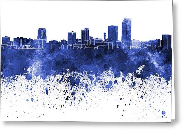 Arkansas Paintings Greeting Cards - Little Rock skyline in blue watercolor on white background Greeting Card by Pablo Romero