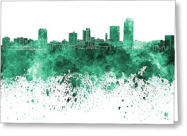 Arkansas Paintings Greeting Cards - Little Rock skyline in green watercolor on white background Greeting Card by Pablo Romero