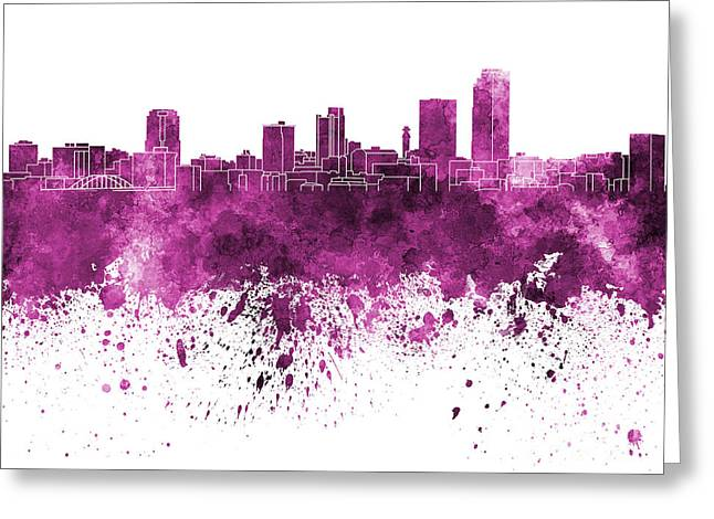 Arkansas Paintings Greeting Cards - Little Rock skyline in pink watercolor on white background Greeting Card by Pablo Romero