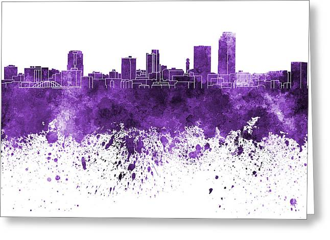 Arkansas Paintings Greeting Cards - Little Rock skyline in purple watercolor on white background Greeting Card by Pablo Romero