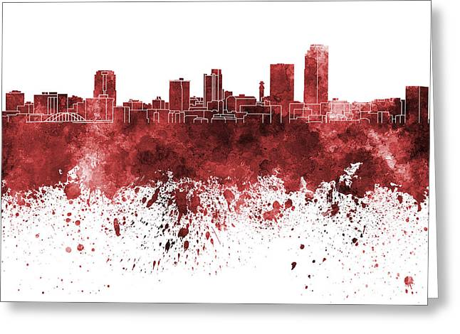 Arkansas Paintings Greeting Cards - Little Rock skyline in red watercolor on white background Greeting Card by Pablo Romero