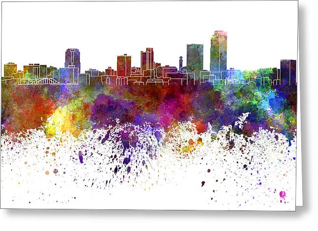 Arkansas Paintings Greeting Cards - Little Rock skyline in watercolor on white background Greeting Card by Pablo Romero