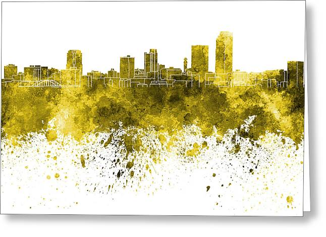 Arkansas Paintings Greeting Cards - Little Rock skyline in yellow watercolor on white background Greeting Card by Pablo Romero