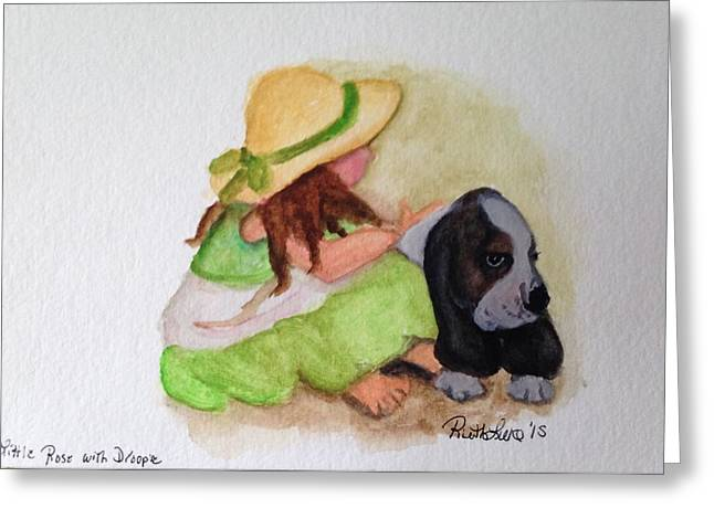 Puppies Paintings Greeting Cards - Little Rose with Droopie Greeting Card by Ruth Luke