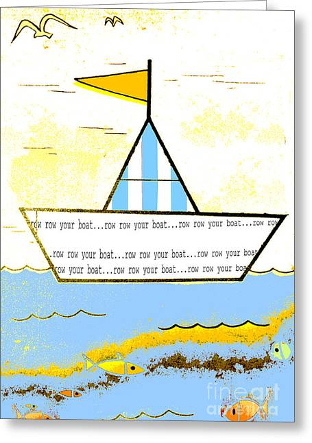 Juvenile Wall Decor Greeting Cards - Little Sailboat - Art for Baby and Toddler Greeting Card by ArtyZen Studios - ArtyZen Home