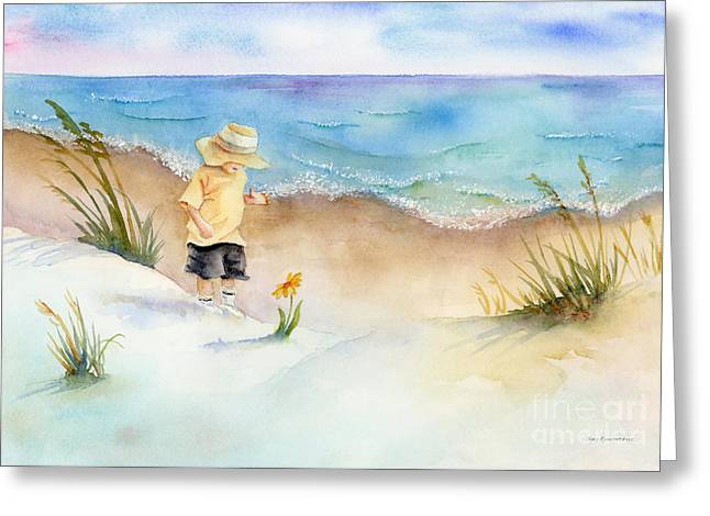 Baby Room Paintings Greeting Cards - Little Saint Greeting Card by Amy Kirkpatrick