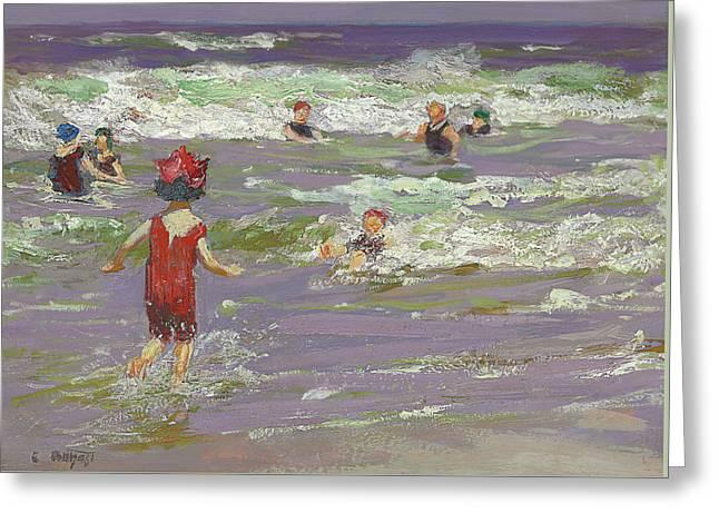 Violet Art Greeting Cards - Little Sea Bather Greeting Card by Edward Henry Potthast