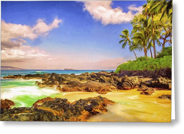 Lahaina Greeting Cards - Little Secluded Maui Cove Greeting Card by Dominic Piperata