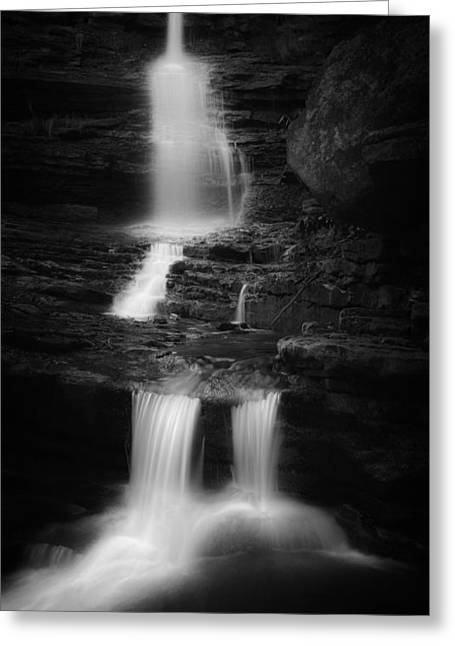 Ethereal Waterfalls Greeting Cards - Little Sheldons Falls Black And White Greeting Card by Bill Wakeley