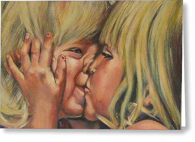 Smooch Greeting Cards - Little Sister Greeting Card by Eric Dee