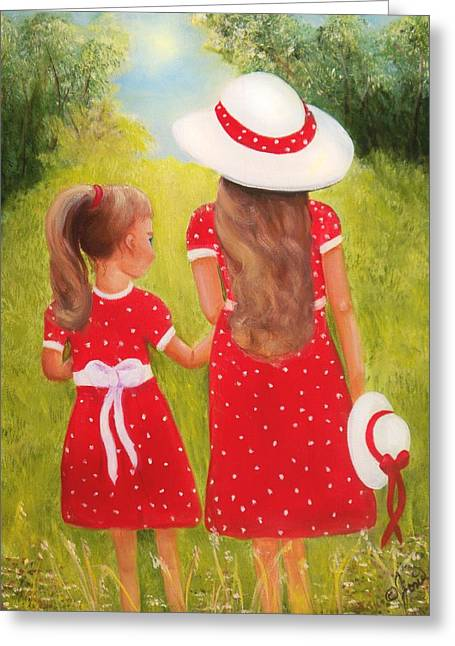 Girls Greeting Cards - Little Sisters Greeting Card by Joni McPherson