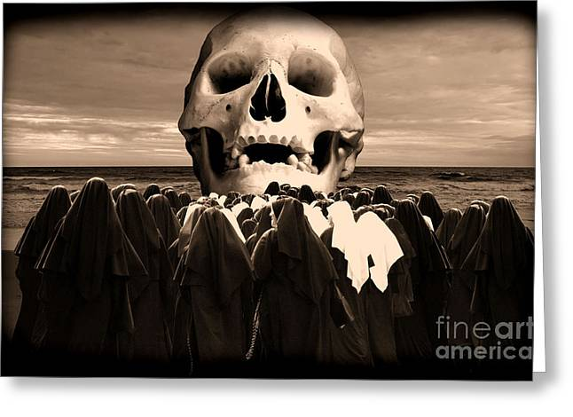 Human Skull Greeting Cards - Little Sisters of the Divine Skull Greeting Card by Wayne Higgs