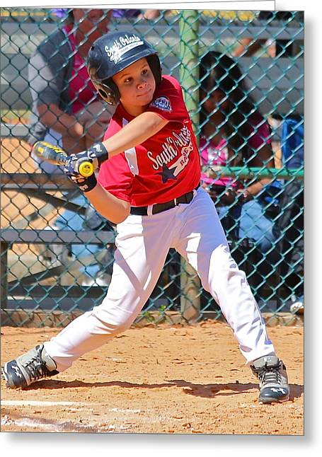 Baseball Uniform Greeting Cards - Little Slugger Greeting Card by Denise Mazzocco