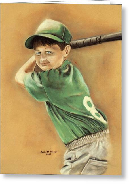 Baseball Player Pastels Greeting Cards - Little Slugger Greeting Card by Robin Martin Parrish