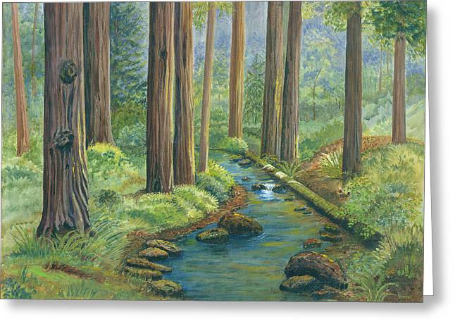 Little Stream in the Woods Greeting Card by Vidyut Singhal