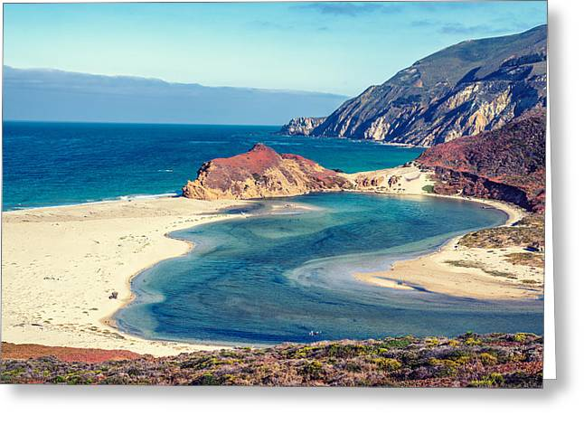 Big Sur Greeting Cards - Little Sur River Beach Greeting Card by Joseph S Giacalone