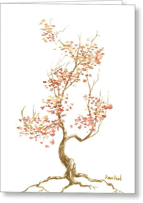 Tree Roots Paintings Greeting Cards - Little Tree 52 Greeting Card by Sean Seal