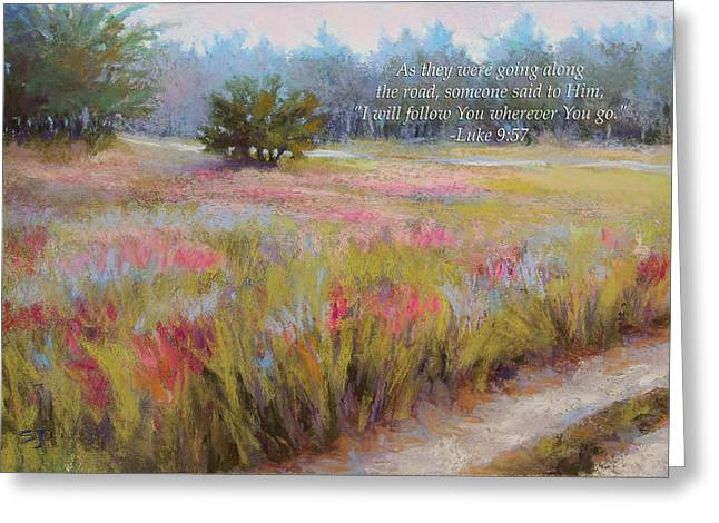 Morning Pastels Greeting Cards - Little Tree Road with verse Greeting Card by Susan Jenkins