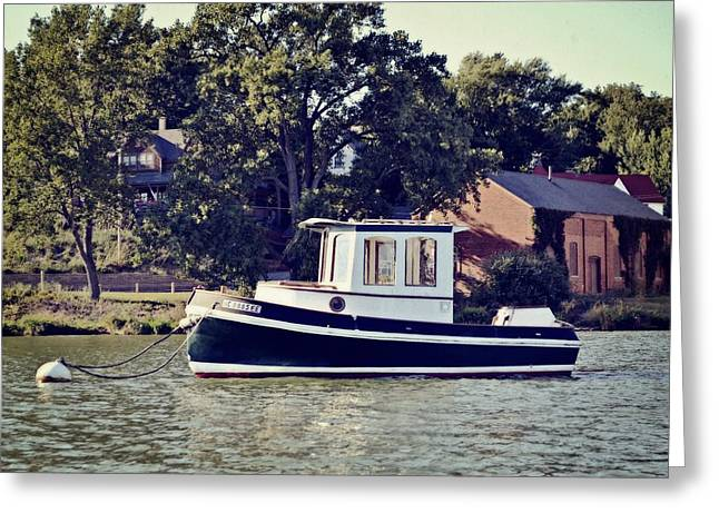 Water Vessels Greeting Cards - Little Tugboat 2.0 Greeting Card by Michelle Calkins