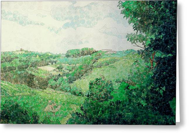Geometric Shape Mixed Media Greeting Cards - Little Tuscan Valley Greeting Card by Jason Charles Allen