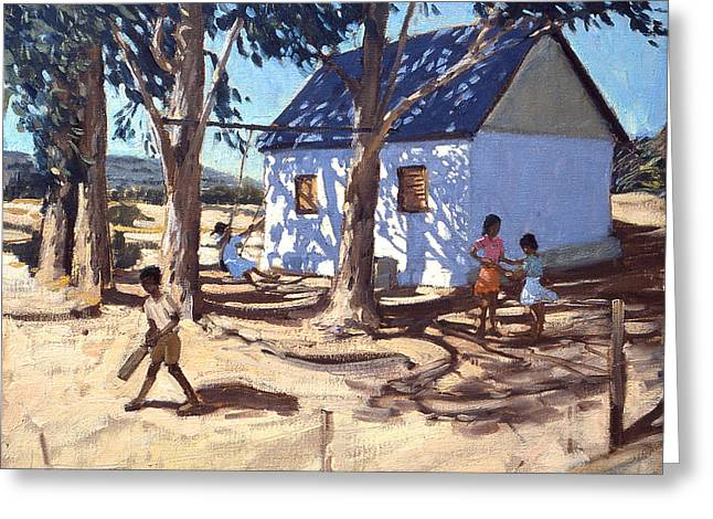 Cricket Paintings Greeting Cards - Little white house Karoo South Africa Greeting Card by Andrew Macara
