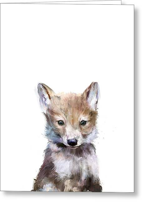 Little Mixed Media Greeting Cards - Little Wolf Greeting Card by Amy Hamilton