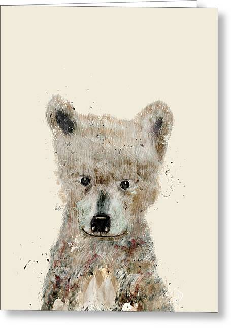 Wolf Portrait Greeting Cards - Little Wolf Greeting Card by Bri Buckley