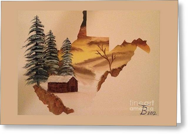 Bob Ross Paintings Greeting Cards - Little WV Cabin Greeting Card by Tim Blankenship
