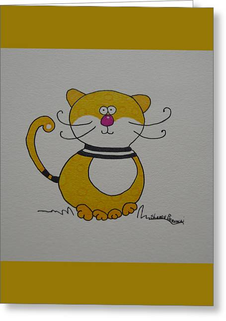 Kitten Prints Greeting Cards - Little Yellow Kitty Cat Greeting Card by Sharon Bernacki