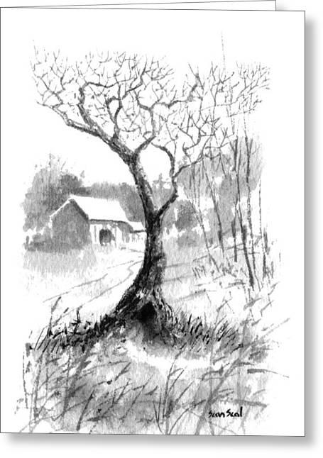Little Zen Tree 1832 Greeting Card by Sean Seal