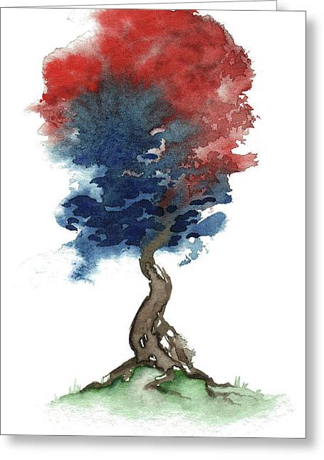 4th July Paintings Greeting Cards - Little Zen Tree 290 Greeting Card by Sean Seal