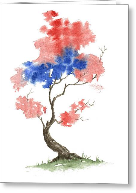 4th July Paintings Greeting Cards - Little Zen Tree 291 Greeting Card by Sean Seal