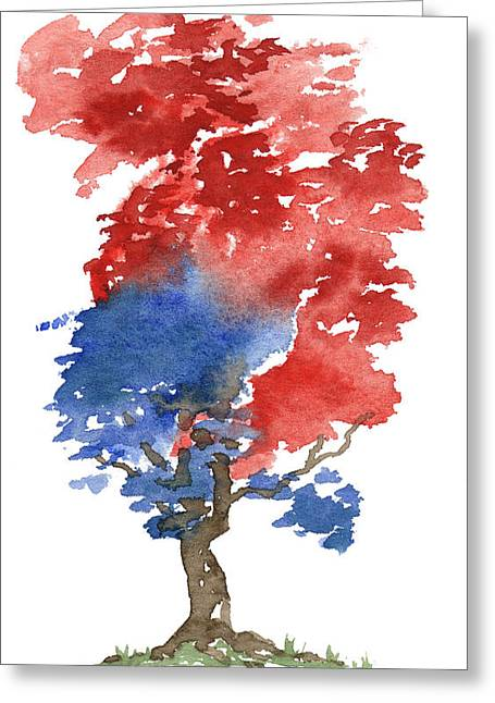 4th July Paintings Greeting Cards - Little Zen Tree 292 Greeting Card by Sean Seal