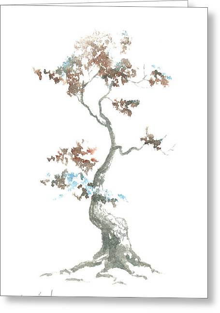 Sean Seal Greeting Cards - Little Zen Tree 444 Greeting Card by Sean Seal