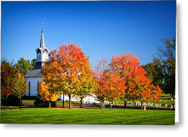Little Zion Church In The Fall Greeting Card by Carolyn Derstine
