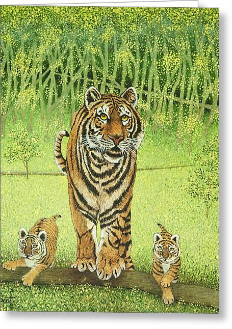 Tigress Greeting Cards - Live and Learn Greeting Card by Pat Scott